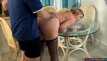 husband fucks neighbor milf in front of his horny wife