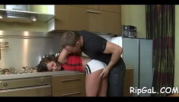 Lovely 18-year-old girl Elsa Jean wants her stepbrother's big cock